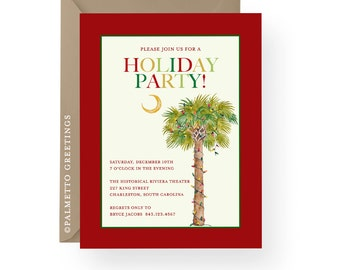 Coastal Christmas Watercolor Palm Tree with Christmas Lights Holiday Party Invitations, Gift exchange, Beach Christmas South Carolina