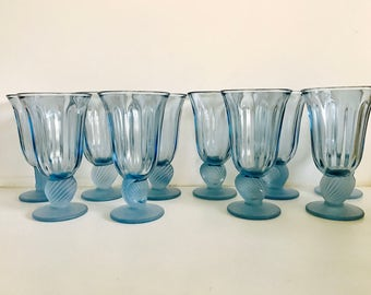 Vintage Glass Fostoria Captiva Blue Goblets With Seashell Stems