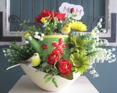 Mothers Day Gift Arrangement, Real Touch Red Gardenia's, Kitchen Island Arrangement, Ceramic Bowl, Watering Can, Removable Mom Tag