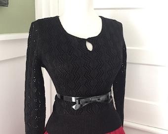SALE Sexy Snug Vintage 1970s 1980s Black Pointelle Knit 3/4 Length Sleeve SWEATER Top