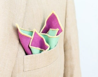 Mint Green, Pink and Yellow Pocket Square // Bright Spring Colored Pocket Square // Fancy Handkerchief // Wedding Outfit // Groom