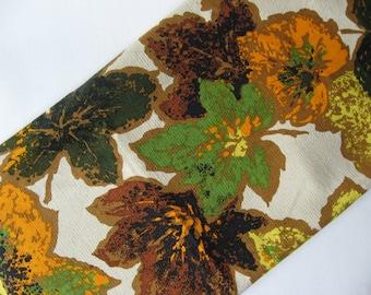 Astounding Dupont Zepel atomic maple leaf vintage barkcloth green orange gold brown fall autumnal fabric