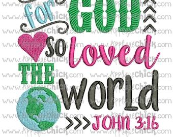 John 3 16 Embroidery Design