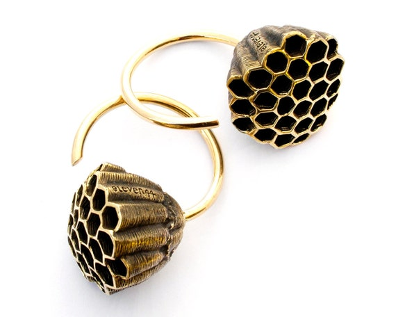 Honeycomb Weights - Gauged Earrings - Ear Weights - Wasp Nest