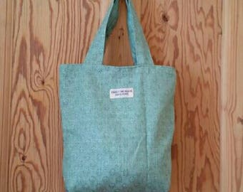 Green and Silver Grey Tote Bag Market Shopper Unique One of a Kind Ready to Ship