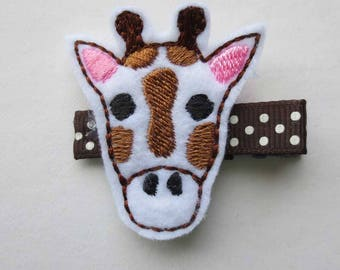 Giraffe Felt Embroidered Hair Clip - Clippie - Party Favor -  Feltie Clip