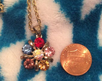 Crystal necklace multicolored sparkly gold tone
