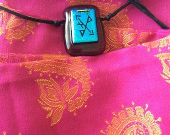 Dichroic Glass necklace blue rune? Black silk cord vtg no flaws