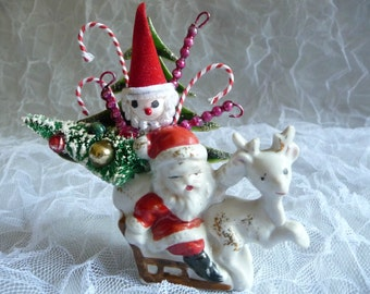Vintage Christmas Decoration Santa Clause Reindeer Sleigh Spun Cotton Retro Bottle Brush Tree Candy Canes Mercury Glass Icicles