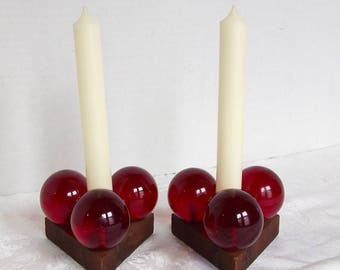 Mid-Century Modern Red Acrylic Candle Holders Candlestick Lucite balls Set of 2 1960s