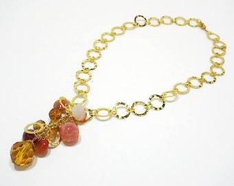 Tassel Statement Necklace, Bold Gold Necklace, Gold Chain Tassel Necklace, Orange Tassel Necklace, Boho Tassel Necklace, Wide Chain Necklace