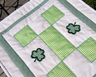 Quilted Table Mat, St. Patrick's Day Mini Quilt, Candle Mat, or Wall Hanging with Irish Shamrocks, the perfect small space holiday decor