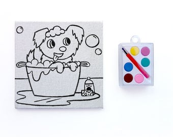 Doggy Bath Canvas Kit - Paint Your Own Puppy