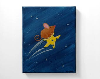 Mouse on Cheese Star 8x10 Original Painting