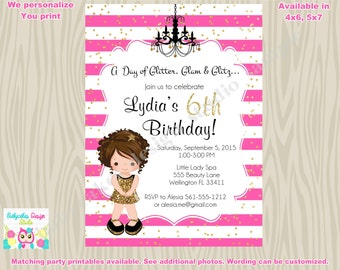 dress up party diva party spa party Pink and gold birthdy party invitation invite glamour party printable CHOOSE YOUR GIRL