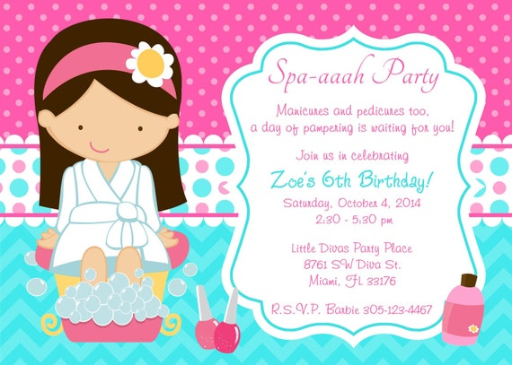 Spa Party Invitation Spa Birthday Party invitation invite chevron
