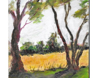Original impressionistic oil landscape painting 10x8 Trees golden meadow yellow wheat