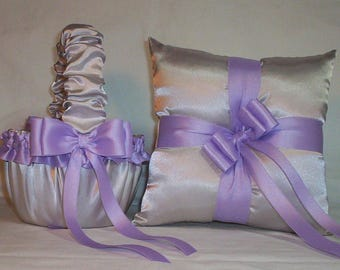 Silver Satin With Lavender Ribbon Trim Flower Girl Basket And Ring Bearer Pillow