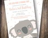 Koala Birthday Party Invitation, Koala Bear Birthday Party Invite, Printable Koala Birthday Invite in Shades of Coral Pink and Gray