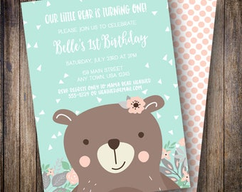 Bear Birthday Party Invitation, Little Bear Birthday Party Invite, Printable Bear Birthday Invite in Shades of Coral Pink, Teal, Brown