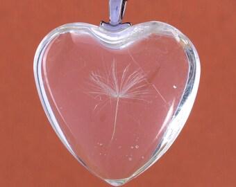 Glass Heart Charm Glass Heart Pendant Dandelion Seed Pendant Dandelion Seed Charm Dandelion Charm Glass Charm Glass Pendant