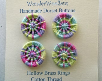 Dorset Buttons, Handmade Buttons, Brass Ring & Cotton Buttons, Four Multicolour Buttons, Artisan Dorset Buttons, Unique Rainbow Buttons
