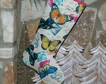 Butterfly Christmas Stocking ...  Butterfly Stocking ... Baby Girl Christmas Stocking ...  Boutique  Stocking ...