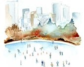 New York Print. NYC Skyline. New York Central Park. Winter Watercolor Wall Art. Ice Skating Central Park. Snowy New York City. Gift Under 15