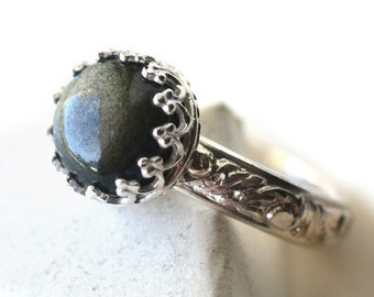 Golden Obsidian Ring, Engravable Floral Silver Band, Women's Natural Stone Jewelry, Custom Engraving