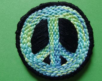 """Peace CND sign handmade embroidered patch 2"""" diameter"""