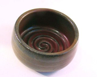Shaving Mug - Shave Bowl - Ridges for Good Soap Lather - Comfort Shave - Handmade Pottery -  Rustic Rust Red - Gift for Him