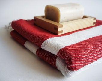 SALE 70 OFF/ Turkish Beach Bath Towel Peshtemal / Red / Wedding Gift, Spa, Swim, Pool Towels and Pareo