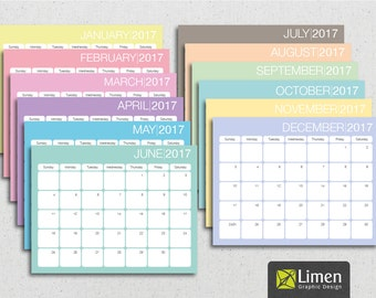Printable Planner 2017, Wall Calendar 2017, Digital Planner 2017, Monthly Organizer 2017, Wall Decor, Instant Download, Gifts for Her