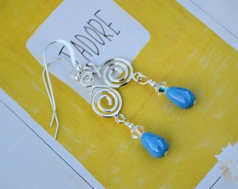Mad About You Blue Teardrop Earrings- wedding, bridesmaid, bride, graduation, prom, gift idea, Mother's Day, anniversary, hostess gift