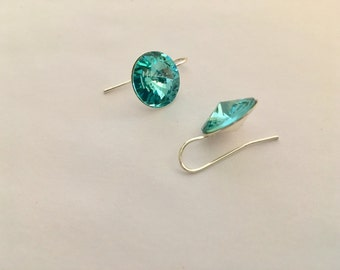 Aquamarine Swarovski Rivoli Silver Drop Earrings