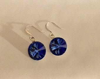 Royal Blue Swarovski Rivoli Silver Drop Earrings