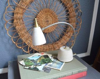Vintage Desk Lamp Vintage Industrial Goose Neck Desk Lamp Off White Gold Atomic Mid Century Task Lamp Eagle Hi-Lite