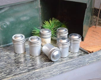 Lot of 7 Metal Aluminum Film Canisters Tins Photo Collection Industrial Decor Vintage Organization Silver Small Bead Screw Lids