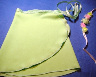 Child Large, Spring Green Crepe Wrap Skirt