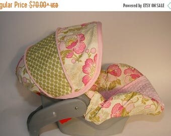SALE Lotus Baby Girl infant car seat cover, girl baby seat cover, baby car seat cover - FREE reversible strap covers- Made to order