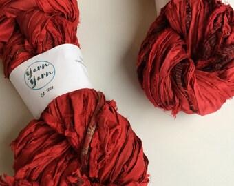 Sari silk ribbon, 300g, knit, beautiful ruby red. Art yarn, knitting ribbon, ethical yarn. Upcycled yarn.
