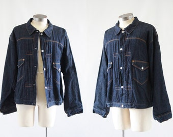 GOOD JEANS Vintage Levis Jacket | Levi Strauss 1897 Repro Indigo Denim, Buckle Back | 555 Valencia, VlV, Rockabilly, LVC |  Sz Mens X Large