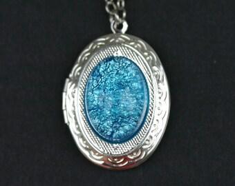 Turquoise Fire Opal Locket
