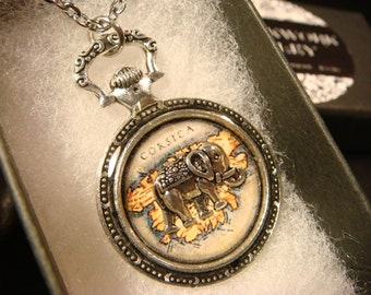 Silver Elephant  over Vintage Map Pocket Watch Style Pendant Necklace (2371)