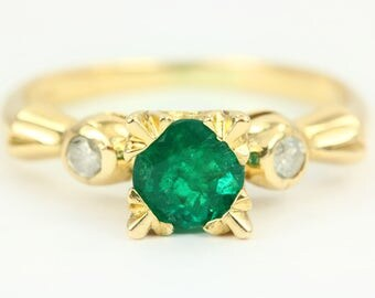 Classic Vintage 14K White Gold Natural Columbian Emerald Engagement Ring, Genuine Emerald and Diamond Ring, Emerald Ring, May birthstone