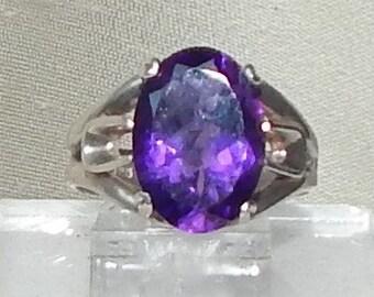 Sterling amethyst ring,Amethyst Valentine's gift ring,Amethyst engagement ring,Amethyst fashion ring,Amethyst ring,February birthstone ring,