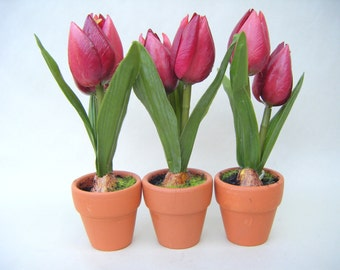 Vintage Artificial Pink Tulips Set of 3 Flowers in Pot Home Decor Floral Easter Spring Miniature Bulbs