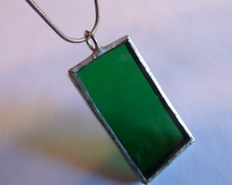 Sterling Silver Chain with Hand Made Sterling and Green Glass Pendant - 16 inch chain