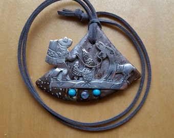 Vintage Silver Man Donkey with Petrified Palm Tree Opal Turquoise Pendant Necklace OOAK Sale 30% off