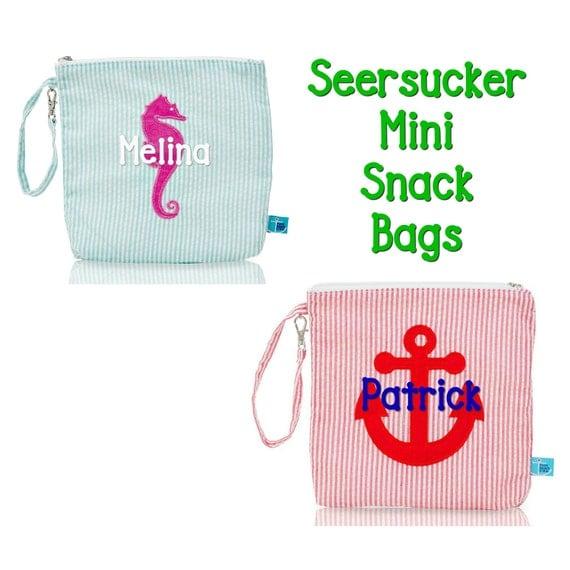 Seersucker Mini Snack Bags